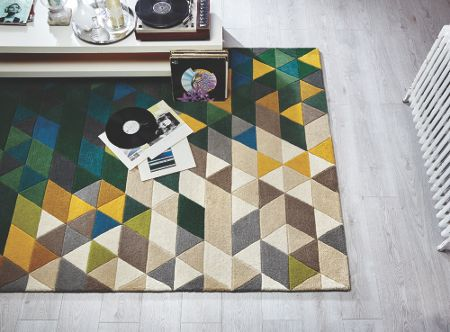 Flair Rugs Prism green and multi rug 80x150cm