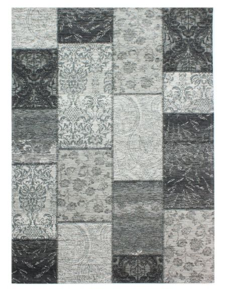 Flair Rugs Chenille black and grey rug 155x230
