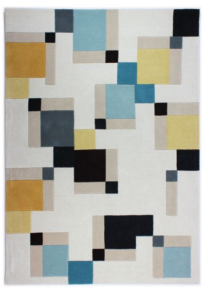 Flair Rugs Abstract  blue and ochre rug 120x170cm