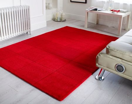 Flair Rugs Wool squares red rug 110x160cm