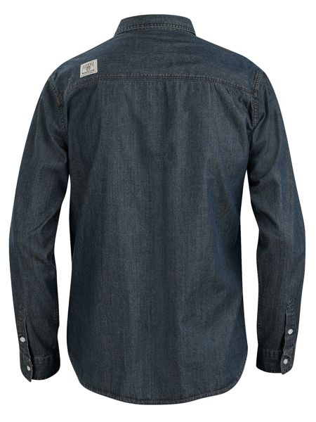 Urban Beach Mens l/s denim shirt - stack lt blu