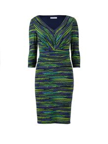 Lime purple print jersey dress