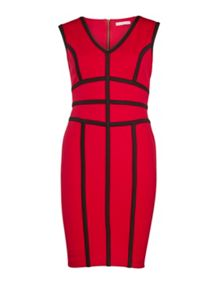 Scuba dress with contrast bands