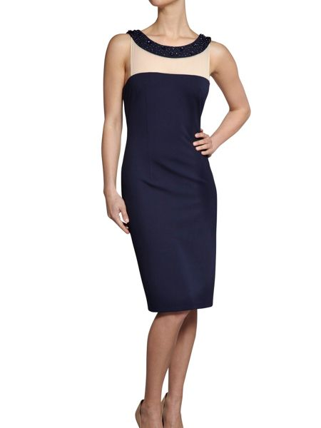 Gina Bacconi Soft handle ponti dress with beaded neck