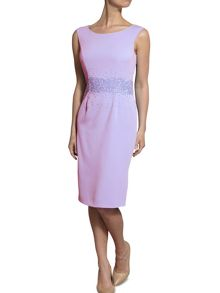 Gina Bacconi Moss crepe dress with beaded waist