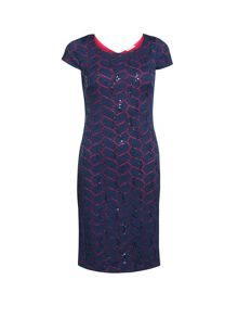 Gina Bacconi Leaf stretch lace with sequin dress