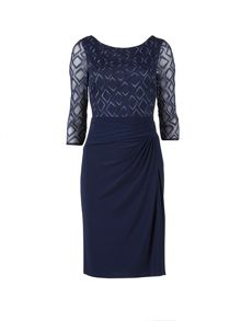 Gina Bacconi Ps jersey dress with diamond embroidery