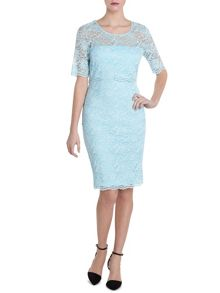 Two tone double scallop lace dress