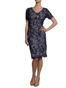 Floral scroll fringed scallop lace dress