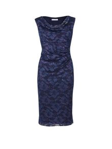 Gina Bacconi Stretch lace with sequins cowl dress