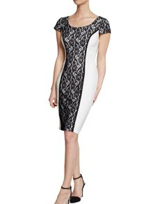 Pin tuck jersey dress with lace panels