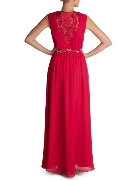 Gina Bacconi Long chiffon dress with lace back