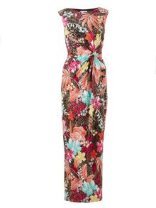 Gina Bacconi Tropical jersey dress with waist detail