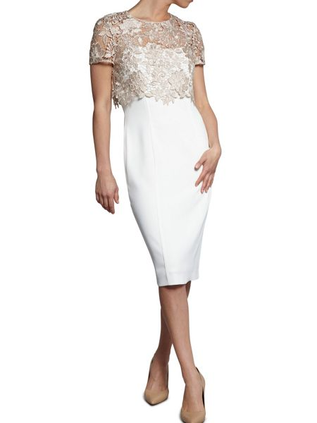 Gina Bacconi Moss crepe dress with bouquet guipure