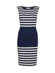 Navy beige engineered stripe dress