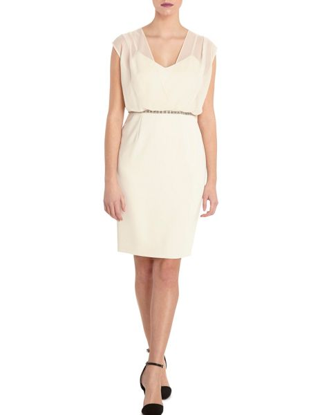 Gina Bacconi Moss crepe dress with blouson chiffon