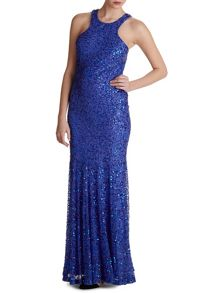 Beaded gown with fishtail hem