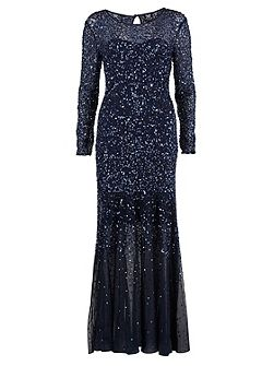 Long beaded dress with long sleeves