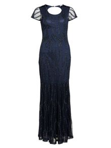 Gina Bacconi Floor length beaded dress