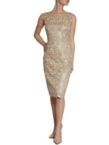 Gold corded lace dress