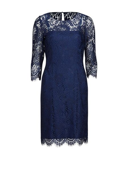 Gina Bacconi Floral scroll fringed scallop lace dress