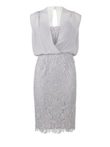 Silver guipure dress with blouson