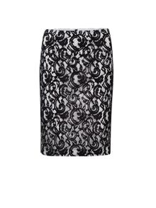 Lace over jersey pencil skirt
