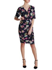 Summer floral chiffon dress with frill