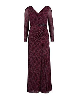 Long mesh dress with rouched bodice