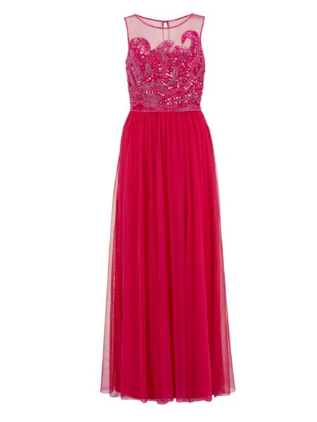 Gina Bacconi Beaded bodice maxi dress