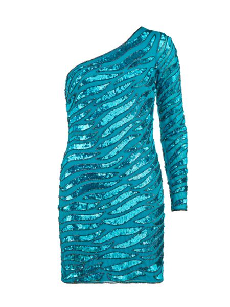 Gina Bacconi Wavey beaded asymmetric dress