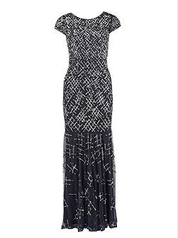 Criss Cross beaded maxi dress