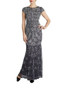 Gina Bacconi Criss Cross beaded maxi dress