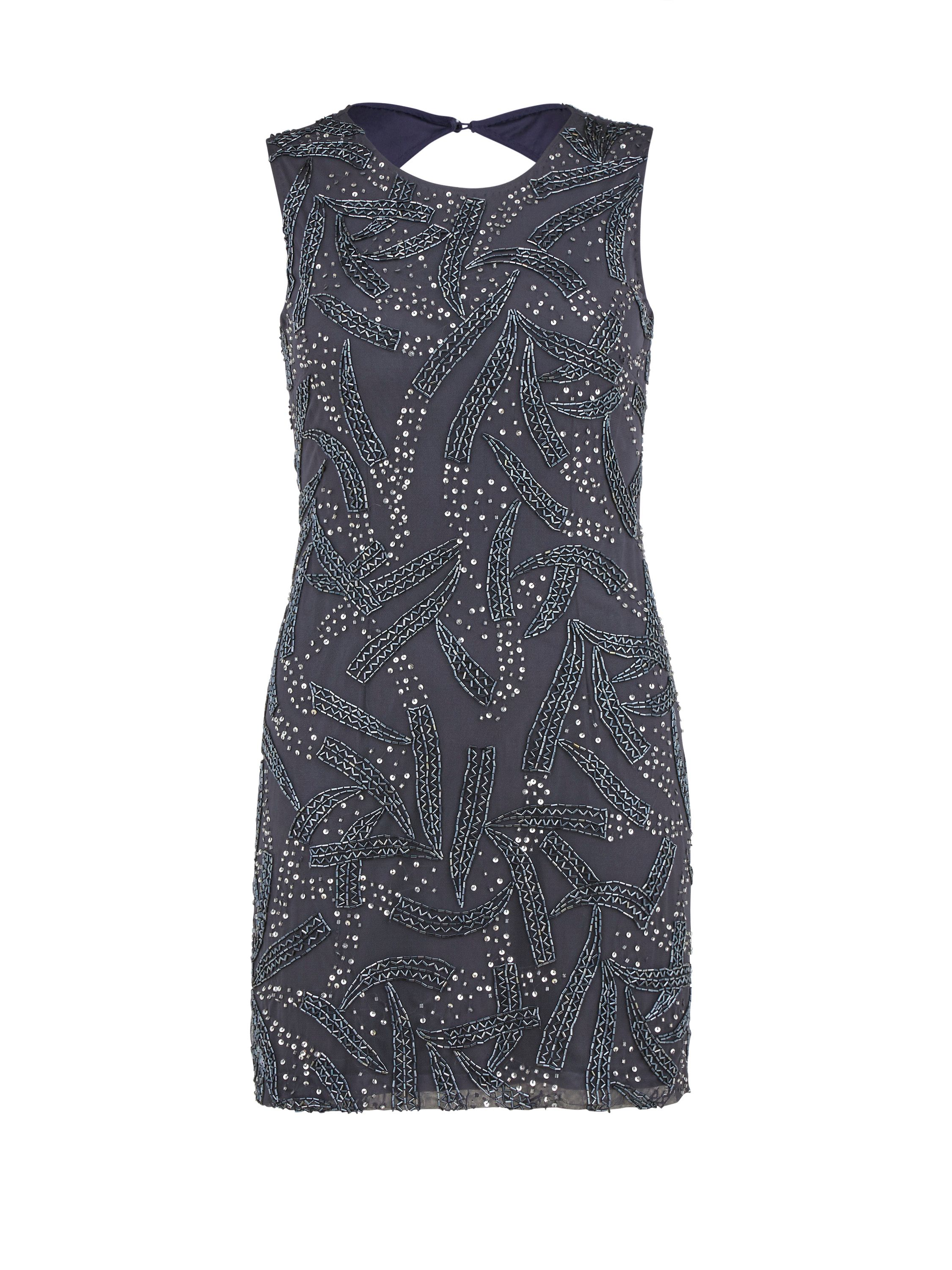 Gina Bacconi Beaded open backed mini dress, Grey