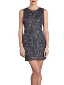 Gina Bacconi Beaded open backed mini dress
