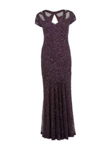 Gina Bacconi All over beaded maxi dress