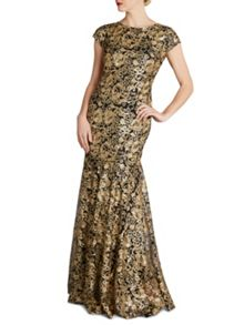 Gina Bacconi Swirl sequin maxi dress