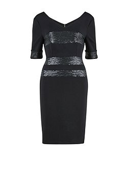 V neck ponti dress, sequinned stripes
