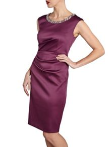 Gina Bacconi Ruched dress with beaded neckline