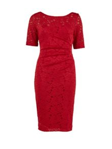 Gina Bacconi Round neck rouge floral lace dress