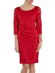 Round neck rouge floral lace dress