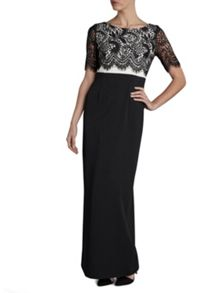 Gina Bacconi Round neck crepe dress lace bodice