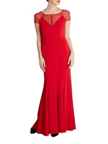 Gina Bacconi Long fishtail dress with beaded yoke