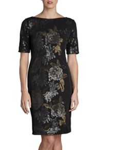 Gina Bacconi Floral sequin mesh round neck dress
