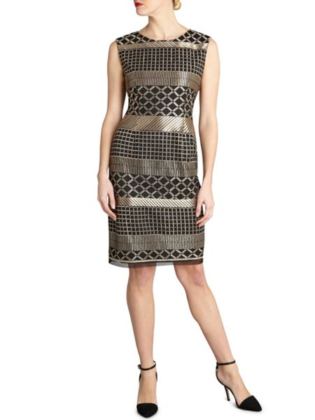 Gina Bacconi Embroider panel stripe round neck dress