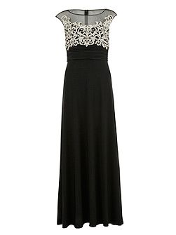 Long jersey dress with contrast bodice