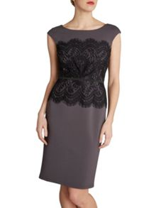 Gina Bacconi Soft ponti and lace round neck dress