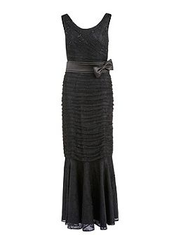 Long round neck beaded lace dress