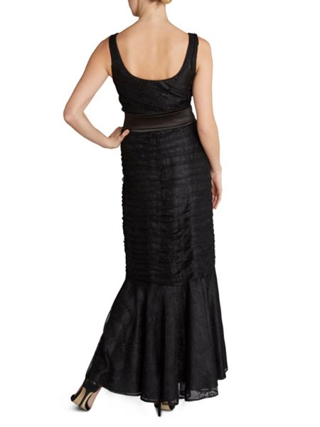 Gina Bacconi Long round neck beaded lace dress