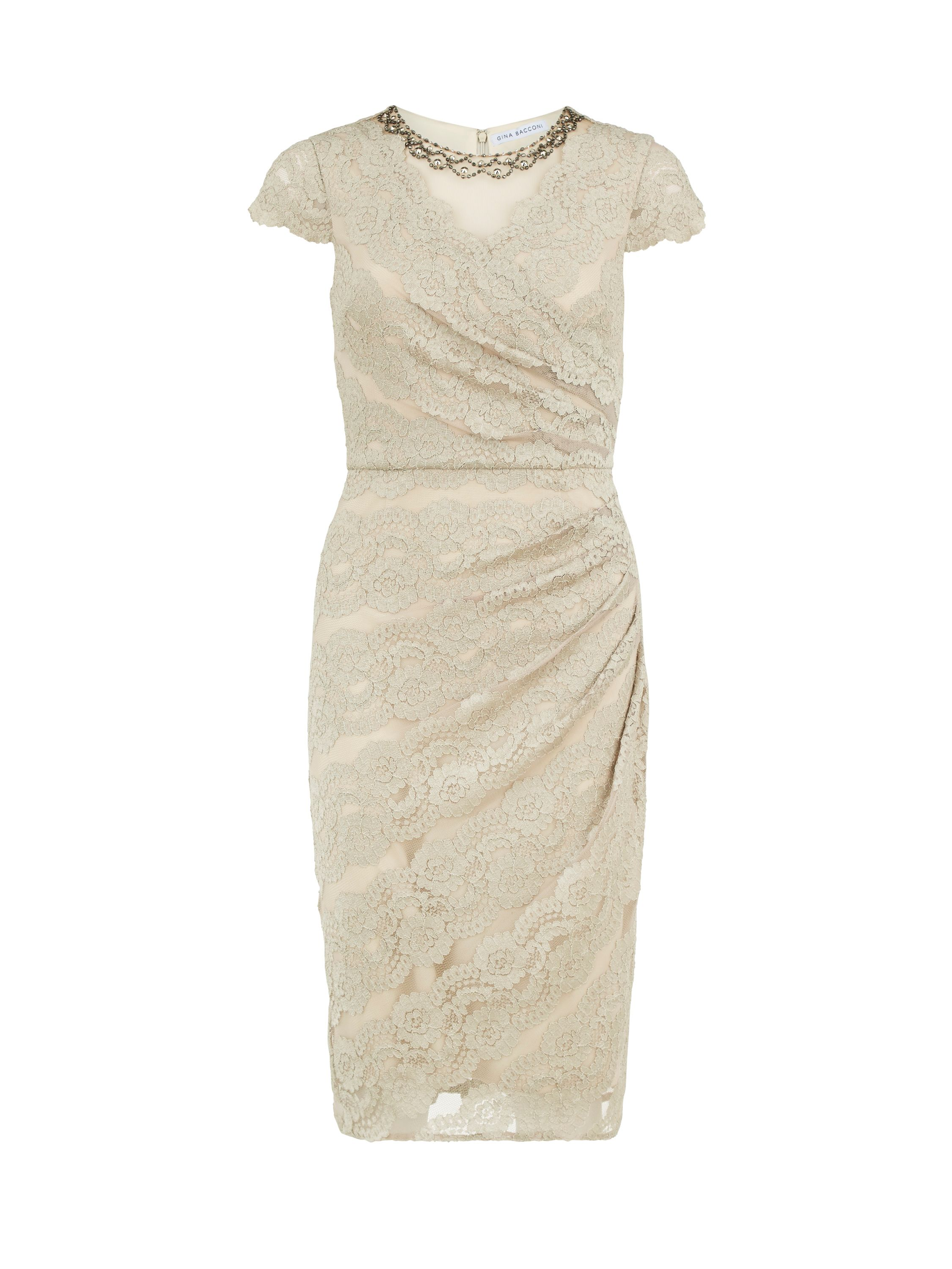 Gina Bacconi Beaded scallop stretch lace dress $270.00 AT vintagedancer.com